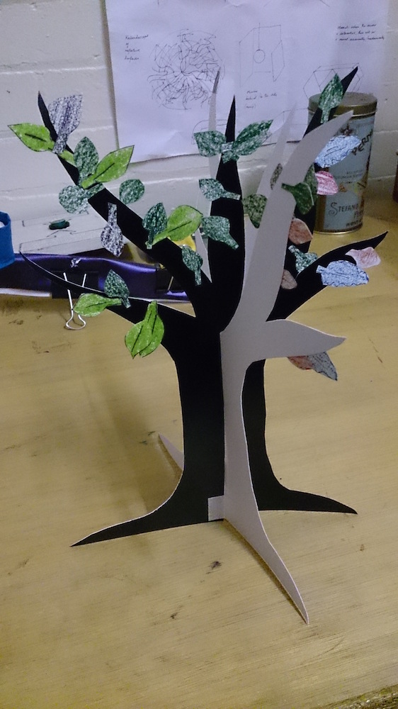 A Future Machine paper tree with different coloured leaves