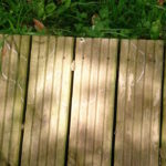 white lines, leaf shadows, decking and grass
