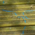 blue lines drawn on the decking