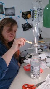 juliet glueing the water clock