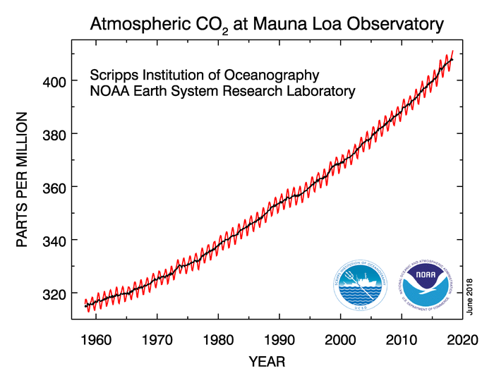 Graph of atmospheric CO2 levles at Mauna Loa Observatory from 1958 onwards showing upward trend