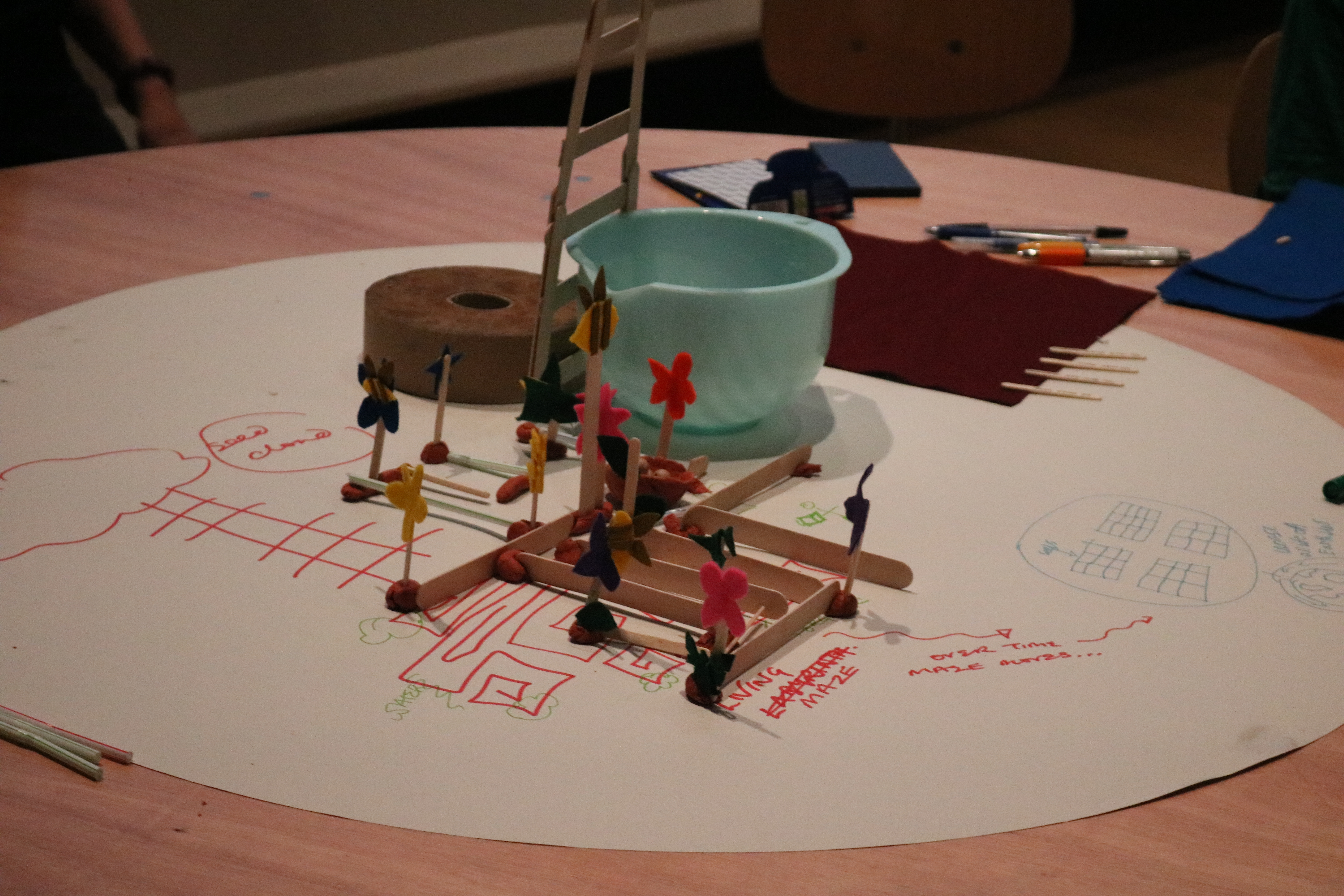 model of the living maze, ladder and requests for food